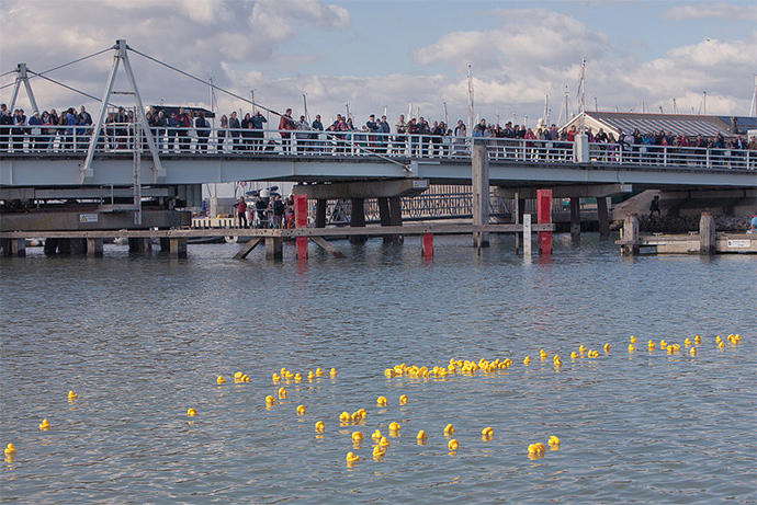 Yarmouth Duck Race from Bridge