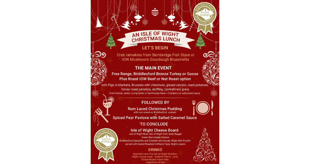 Wight Marque Christmas Lunch menu