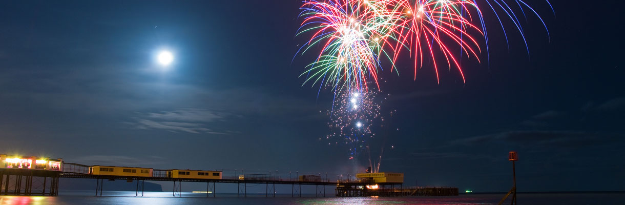 Fireworks at Sandown Pier on the Isle of Wight