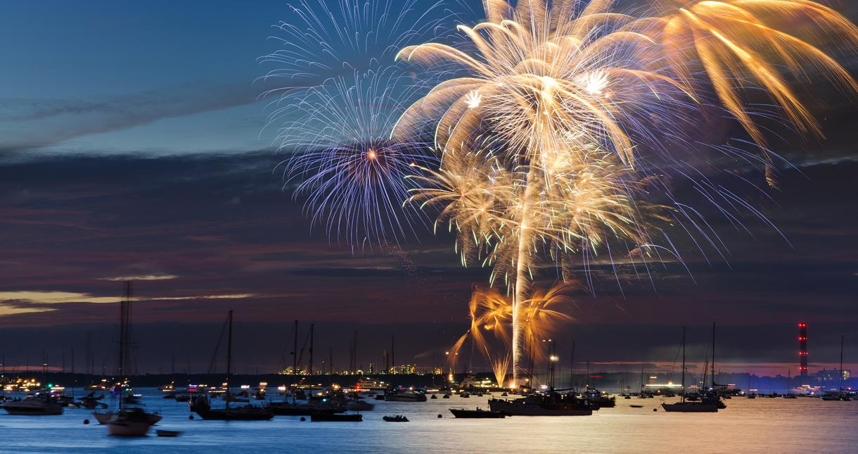 Lendy Cowes Week fireworks display on the Isle of Wight