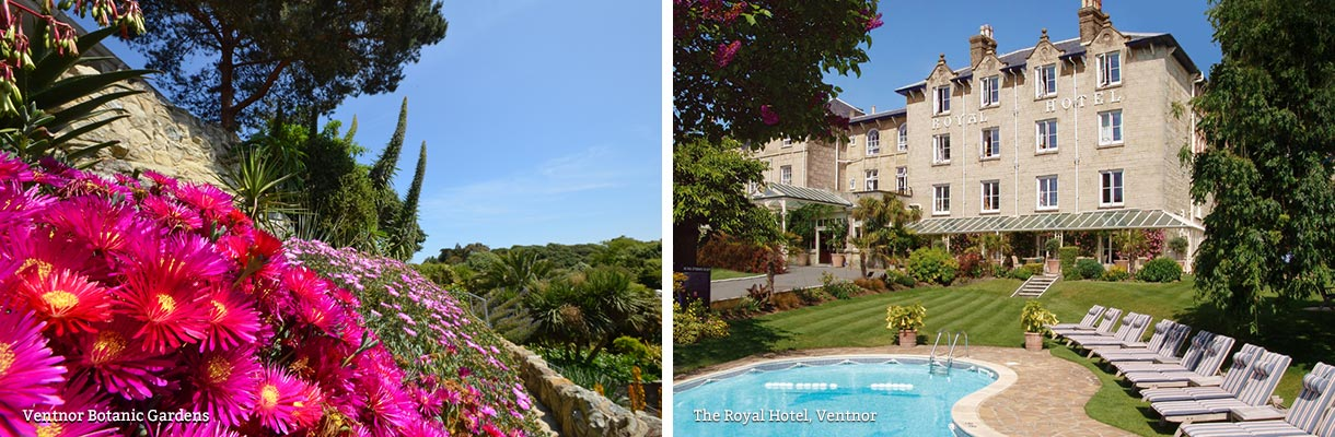 Ventnor Botanic Gardens and The Royal Hotel in Ventnor on the Isle of Wight