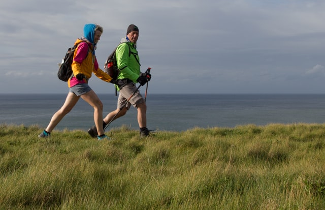 Couple hiking on the cliffs - Isle of Wight