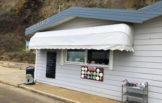 Isle of Wight, Eating out, Beach Cafe, Strollers Cafe, Sandown, Ice cream window