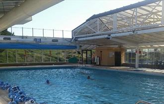 People swimming in pool with roof off at Waterside Pool, Ryde, Things to Do, Isle of Wight