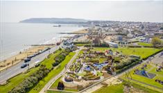 Sandown, Isle of Wight, Sandham Gardens Attraction, Dino Islands and Karting, Family Fun, Aerial View, Things to Do