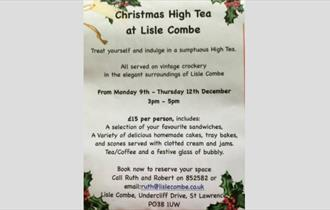 Isle of Wight, Things to Do, Christmas High Tea, Lisle Combe, VENTNOR