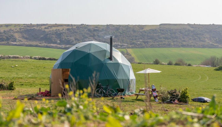 Isle of Wight, Accommodation, Glamping, Toms Eco Lodges, TAPNELL FARM, Dome Meadow Exterior