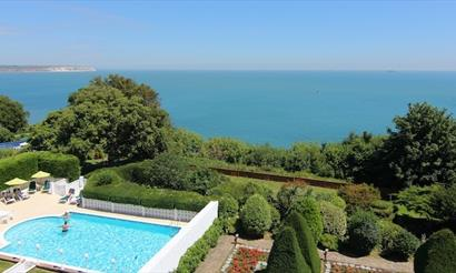 View of swimming pool at Luccombe Hall Hotel in Shanklin - Isle of Wight Hotels.