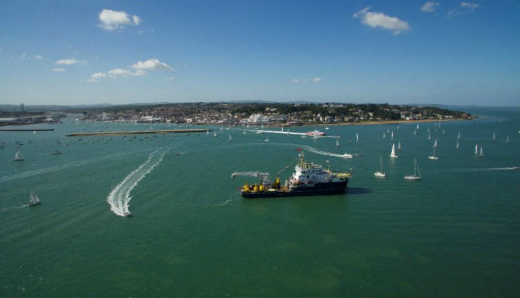 Aerial view of Cowes Harbour